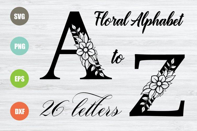 Floral Alphabet SVG, 26 Letters