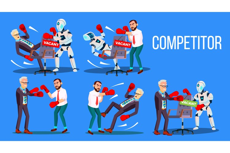 Competitor Of Work Vacancy Position Set Vector example image 1