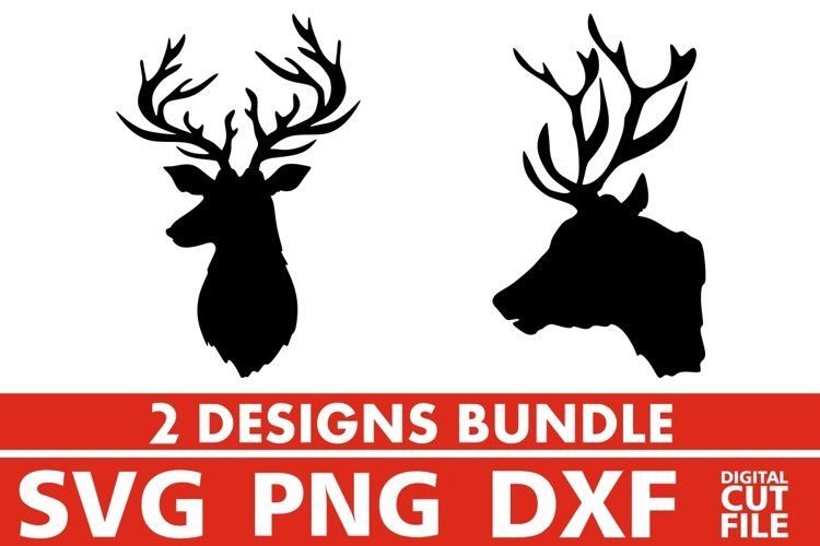 2x Deer Head Bundle svg, Mask svg, Antlers svg, Hunting svg example image 1