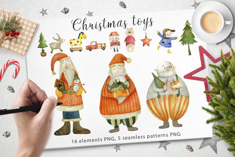 Watercolor christmas toys