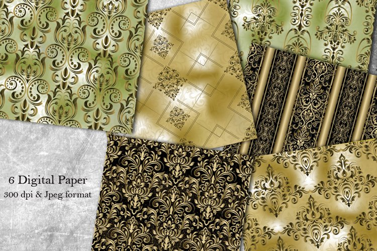 6 Victorian damask seamless pattern. Collection of papers example image 1