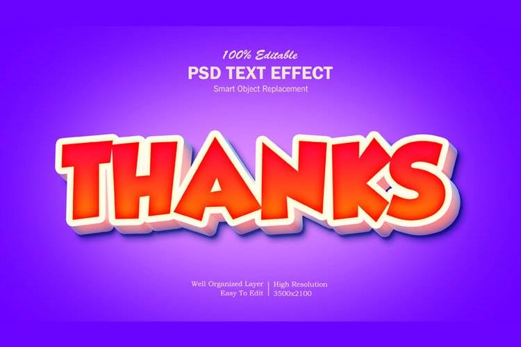 3D Thanks Text Effect example image 1