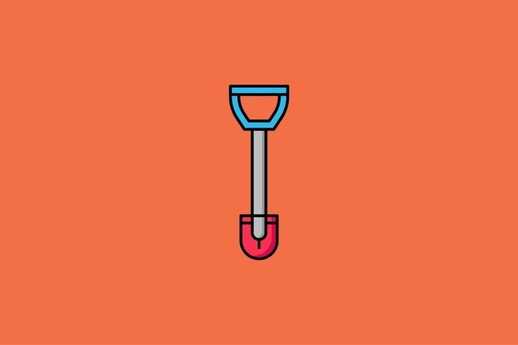 shovel filled outline Icon. construction and tool vector