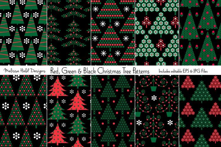Red, Green & Black Christmas Tree Patterns