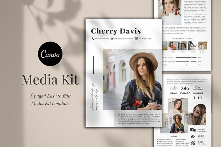 Media Kit Template, 3 Pages, Canva example image 1