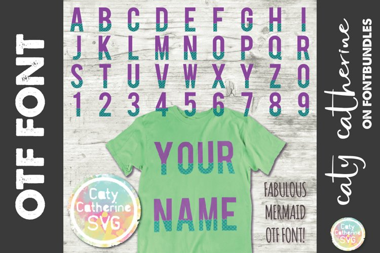 Fabulous Mermaid Scales Letter & Number A-Z 0-9 OTF Font example image 1