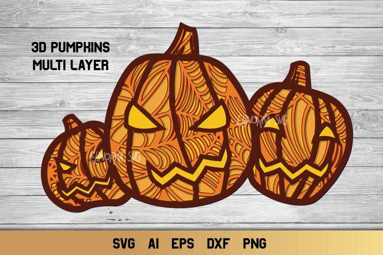 Halloween SVG 3D Layered | Multi Layer Pumpkin SVG |Cut File example image 1
