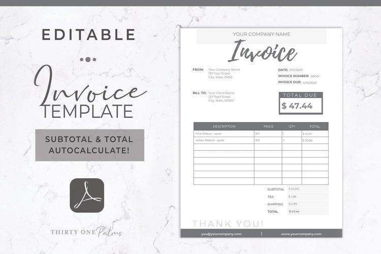 Invoice Template | Editable PDF | Printable Invoice example image 1