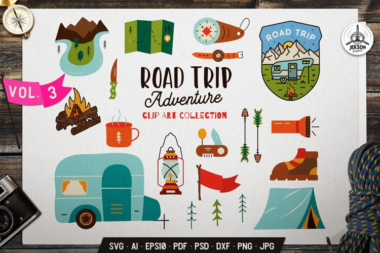 Travel Clip Art SVG Bundle | Road Trip Adventure Icons DXF