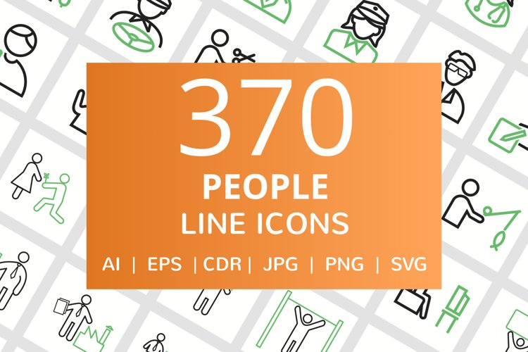 370 People Line Green & Black Icons