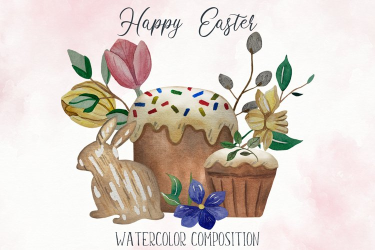Watercolor Spring Easter Clipart, Easter cake, hare, willow example image 1