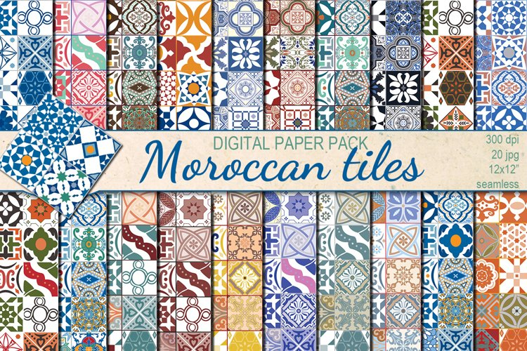 Moroccan tiles Ethnic seamless patterns