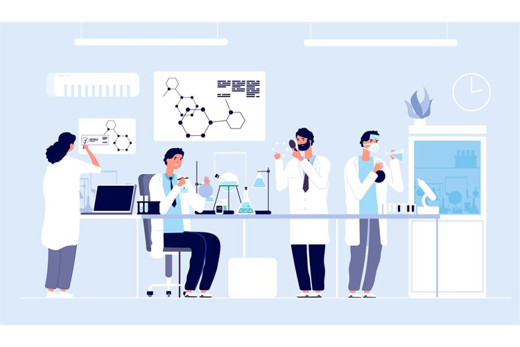 Scientists in lab. People in white coat, chemical researcher example image 1