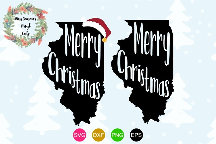 Merry Christmas Illinois State Outline example image 1
