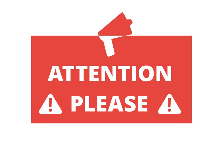 Attention please red badge or banner with megaphone vector i example image 1