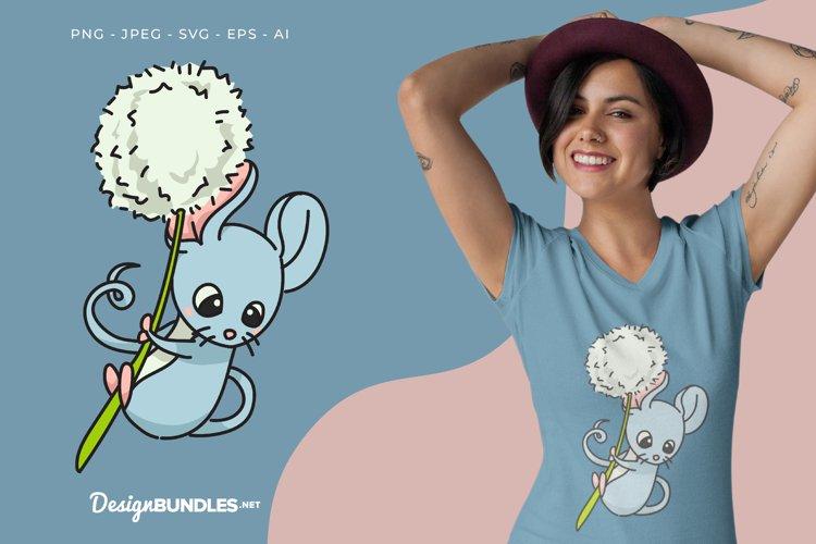 Mice Hanging on Dandelion Vector Illustration For T-Shirt
