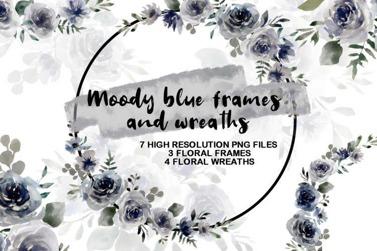 Moody Blue Frames and Wreaths, Floral Wreath Clipart