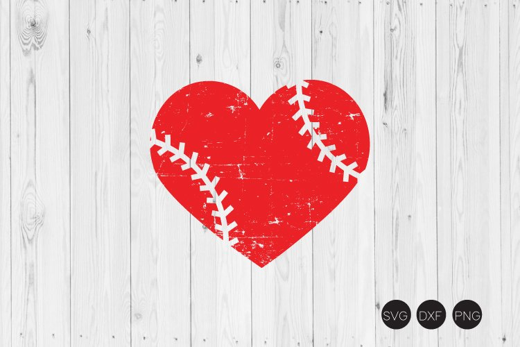 Distressed Baseball Heart SVG,Distressed Heart SVG example image 1