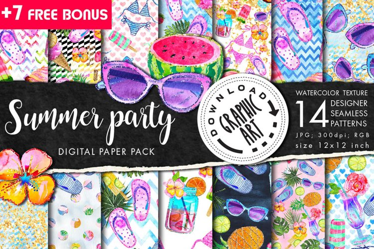Summer Party Seamless Pattern example image 1