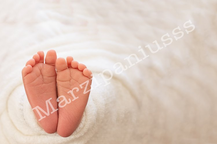 Foot of the newborn baby, tenderness. copy space example image 1