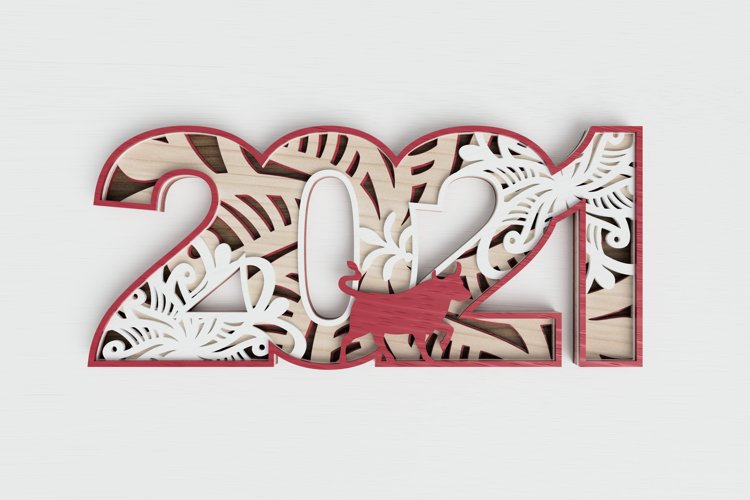 New Year laser cut file - 2021 - Year of the Ox example image 1