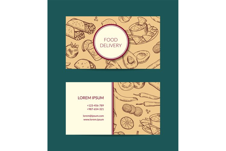 Vector business card template for restaurant, shop or cafe example image 1