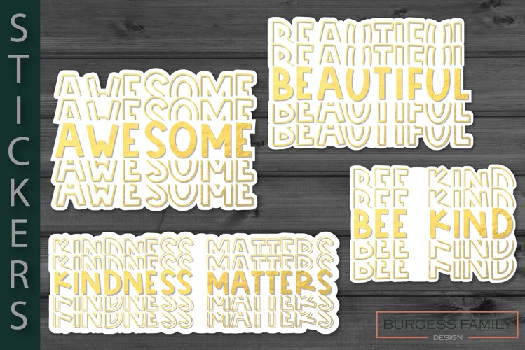 Stickers Gold repeating words