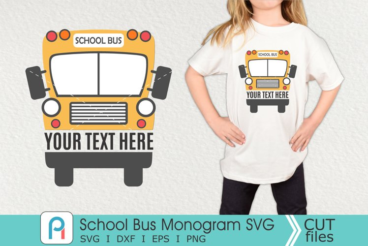 School Bus Monogram Svg, School Bus Svg, School Bus Clipart example image 1