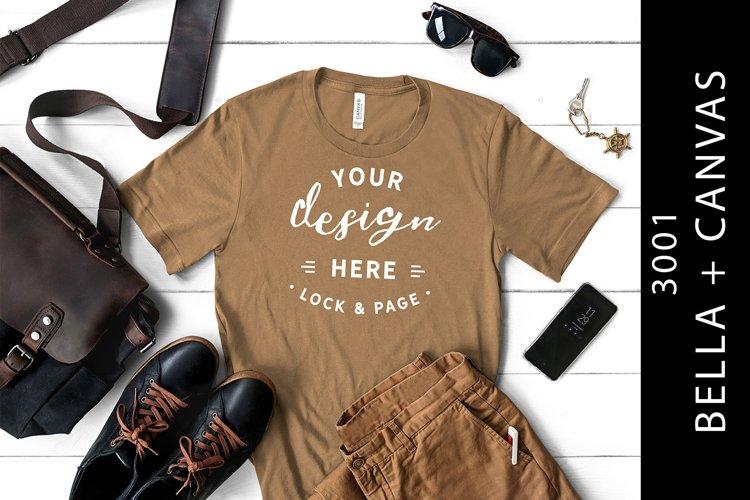 Mens Pebble Brown Bella Canvas 3001 T-Shirt Mockup example image 1