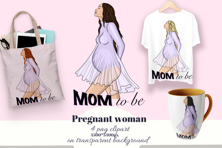 Mom to be T-shirt design. Pregnant woman. Maternity clipart. example image 1