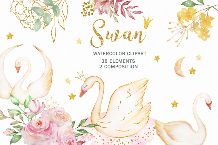 Watercolor Swan Princess and Flowers Clipart