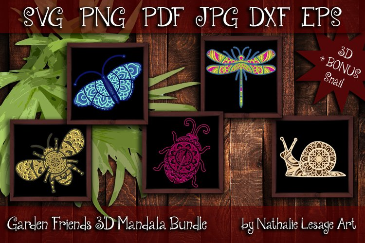 3D Mandalas Garden Friends Layered SVG and Sublimation Files