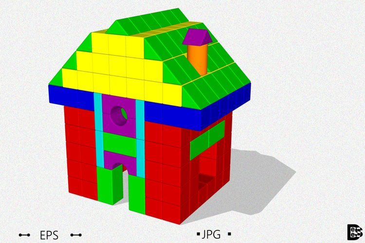 House from toy building blocks. 3d Vector illustration. example image 1