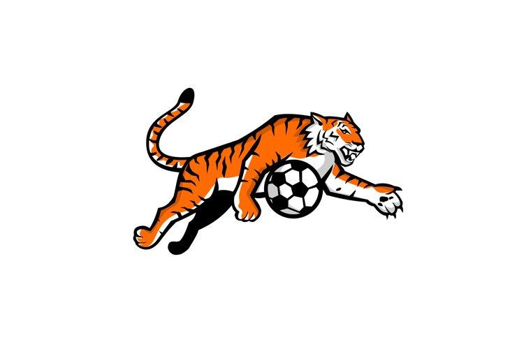 Tiger Jumping Soccer Ball Mascot example image 1