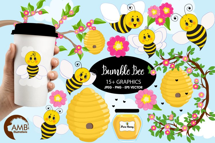Bumble bee cliparts, Honey bee cliparts, graphics, illustrations AMB-1053 example image 1