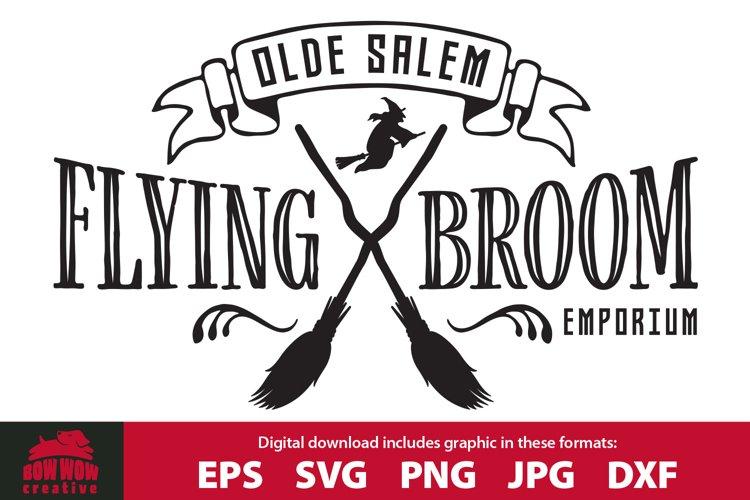 Olde Salem Flying Broom Emporium - Halloween Sign SVG example image 1