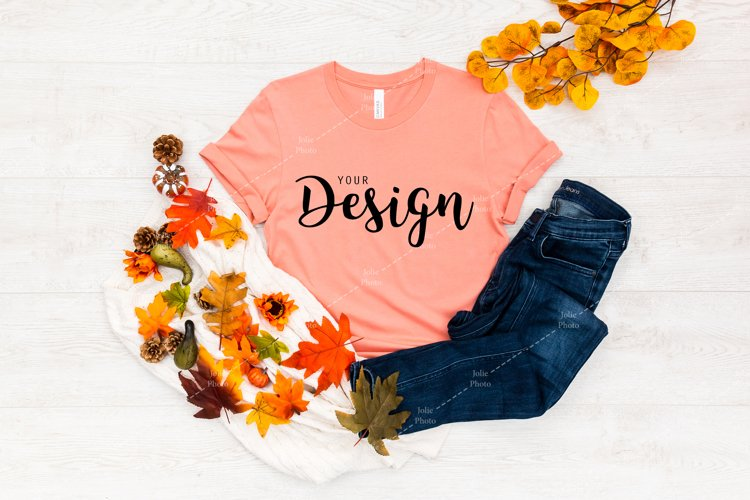 Bella Canvas 3001 Sunset T-shirt Mockup for Fall example image 1