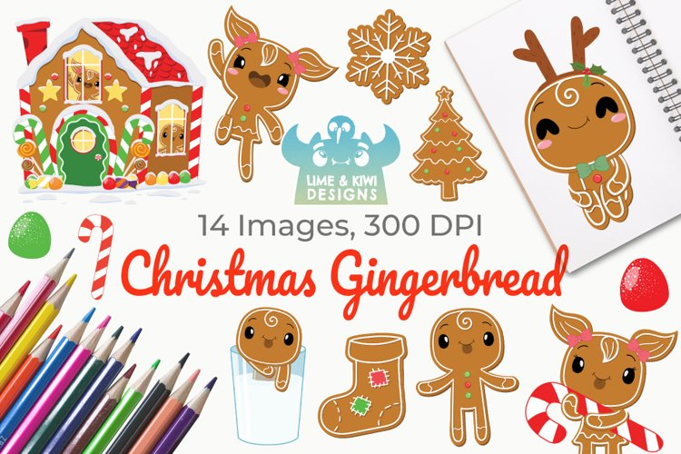 Christmas Gingerbread Clipart, Instant Download Vector Art