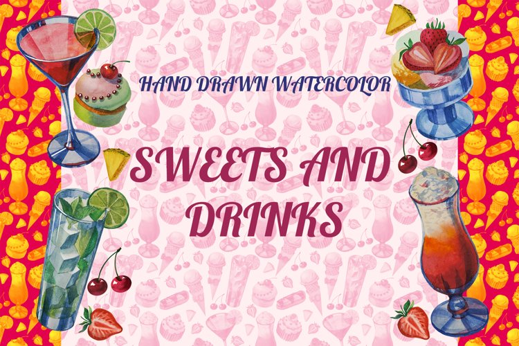Hand drawn watercolor sweets and drinks example image 1