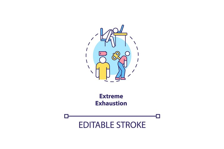 Extreme exhaustion concept icon
