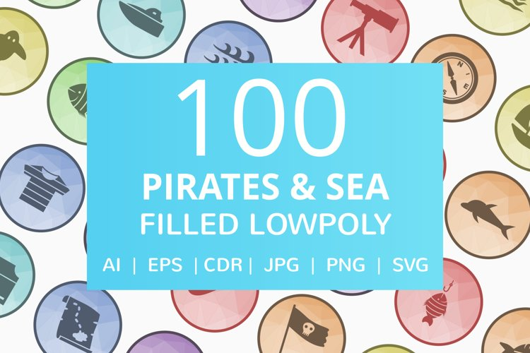 100 Pirate & Sea Filled Low Poly Icons example image 1