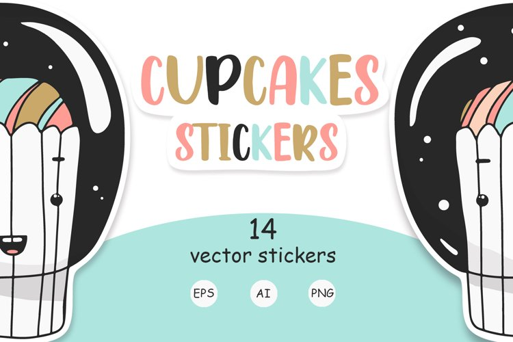 Vector stickers funny cakes