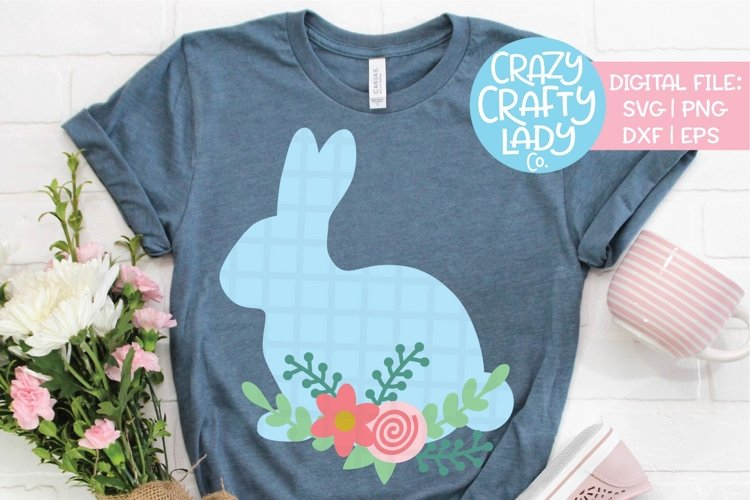 Floral Bunny Easter SVG DXF EPS PNG Cut File example image 1