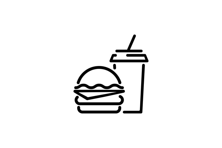 Sandwich, hamburger with drink. Vector example image 1