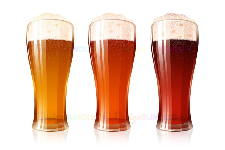 Vector Beer Glass Varieties Porter Dark Light Lager Foam Set example image 1
