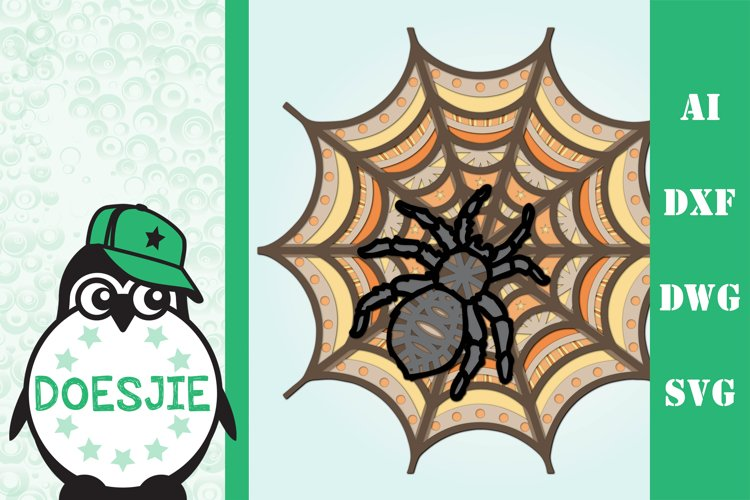 3d spiderweb with spider Halloween multi layer mandala example image 1