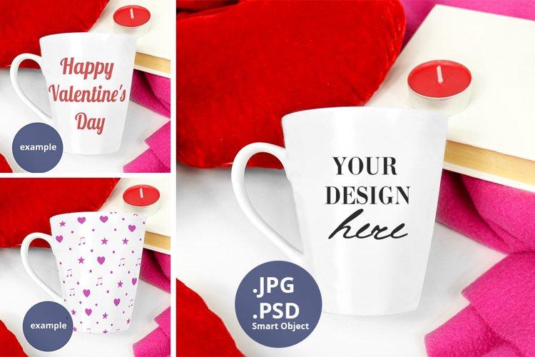 Latte Mug Mockup Valentine's Day PSD & JPG full wrap mockup example image 1
