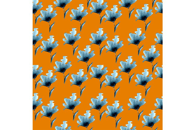 watercolor seamless pattern of bright fancy handmade flowers example image 1