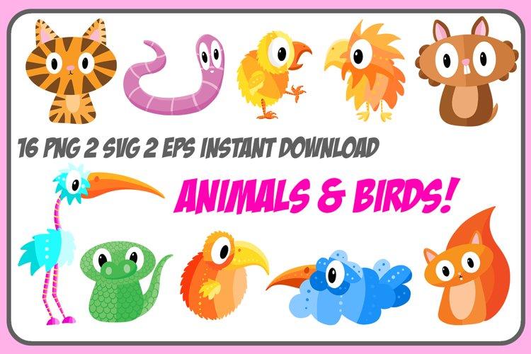 Cartoon Animals and Birds Collection! Squirrel, Tiger, Worm example image 1