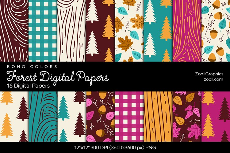Forest Digital Papers - Boho Colors example image 1